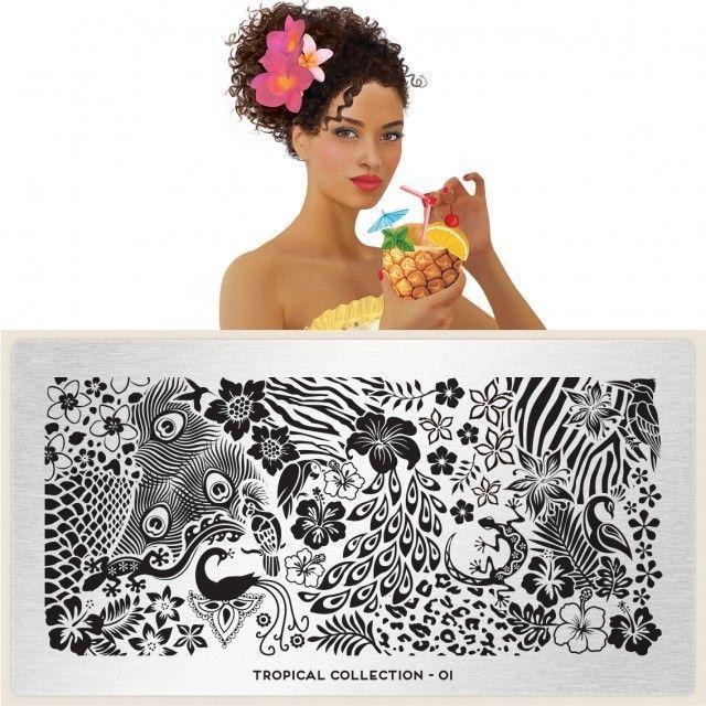 MoYou London Stamping Schablone *Tropical Collection 1* 01  Blume Hibiskus Pfau