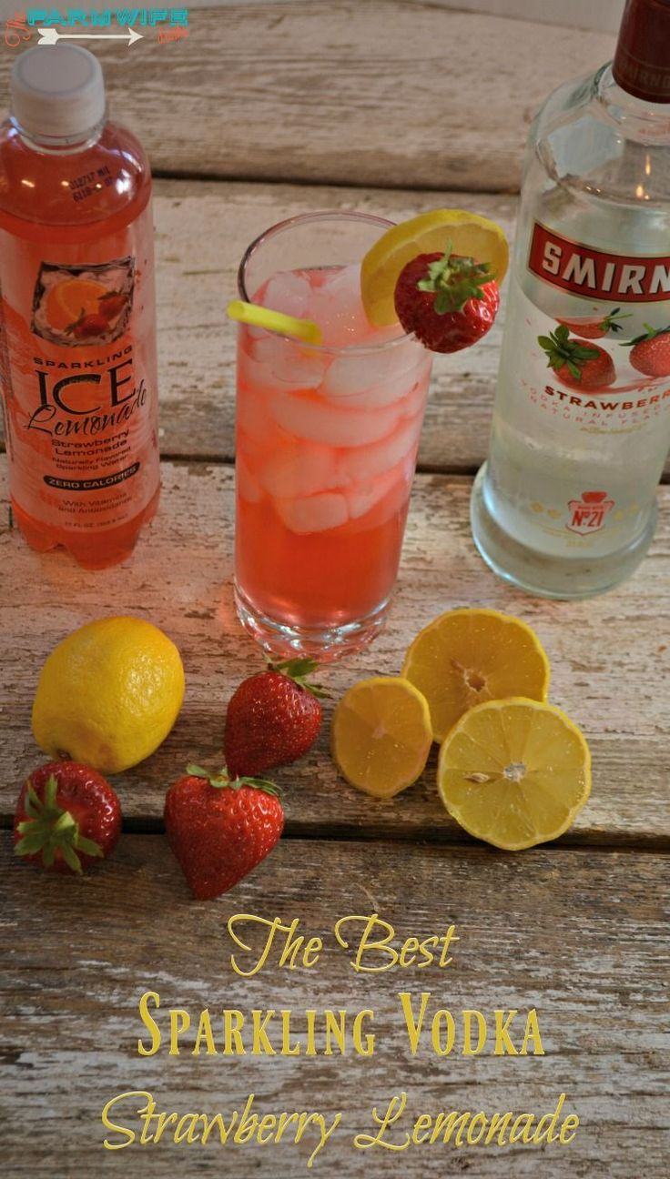 skinny strawberry lemon and strawberries 1 bottle sparkling ice strawberry lemonade 3 oz strawberry vodka