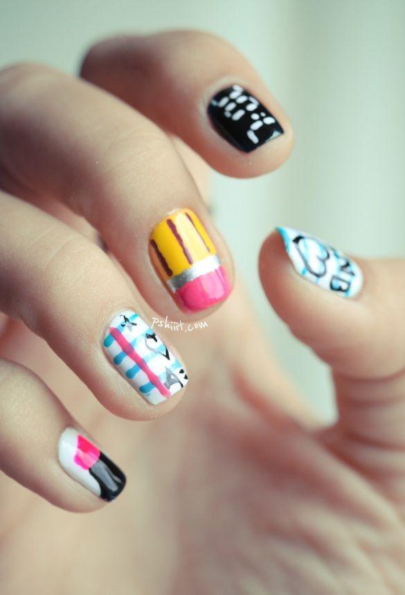 back to school nails: Schools Nails Art, Cute Nails, Schools Outs Nails, Nails Ideas, Back To Schools Nails Design, Cool Nails Art, Schools Nailart, Teen Trends, Art Nails 2014
