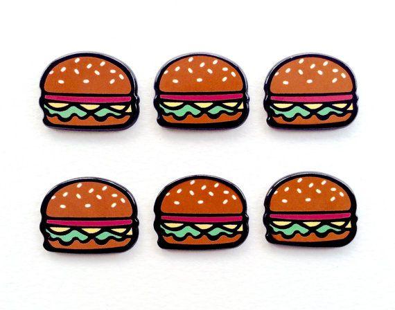 5 pcs  Cartoon Hamburger Resin Flatback by CraftyMissBettie