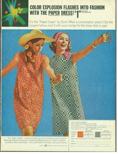 1960's clothing fads paper dresses and dress in a can