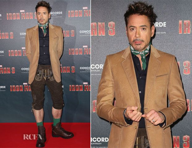 Robert Downey Jr In German Lederhosen – 'Iron Man 3′ Munich Photocall