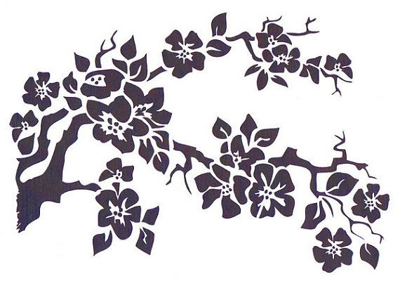 Cherry Blossom Stencil, Mylar Stencil, Flower Stencil, art supply stencil, pochoir, Japanese flower, Asian stencil