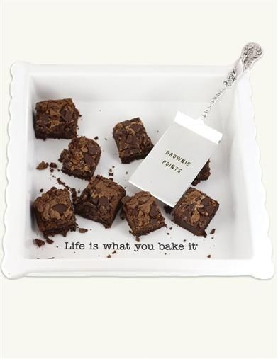 Life Is What You Bake It Brownie Dish & Brownie Points Spatula from Victorian Trading Co.