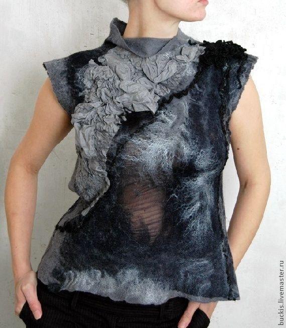 Купить Жилет- Вечерняя сказка - чёрный, абстрактный, чёрно-белый, валяный жилет, женская одежда