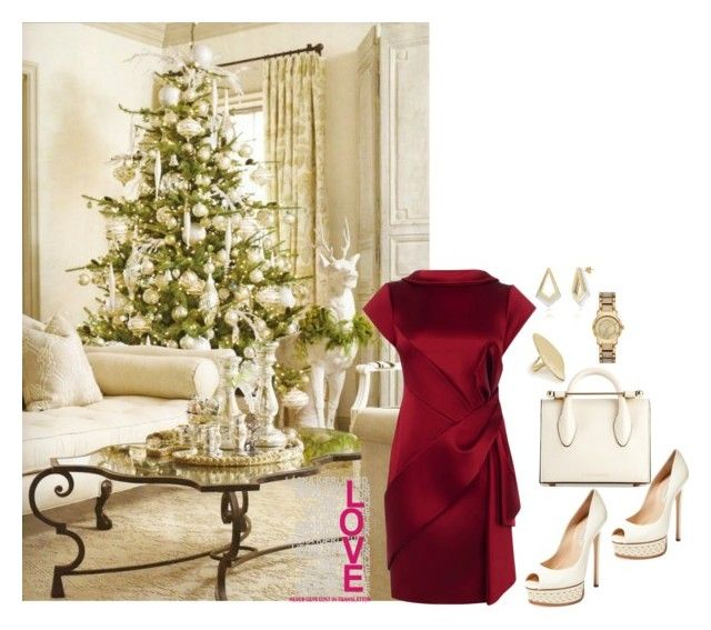 """""""Christmas Lunch outfit."""" by jkfindulgence ❤ liked on Polyvore featuring Strathberry, Casadei, Neola, Calder, Karen Millen and becoloredstylishly"""
