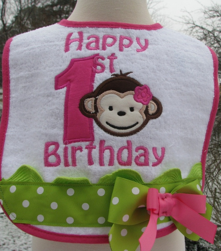 mod monkey birthday bibs. $14.50, via Etsy.