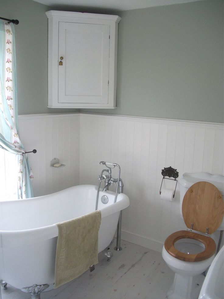 Our vintage style bathroom complete with slipper bath - walls in Mizzle by Farrow and Ball, woodwork in Wimborne White by Farrow and Ball