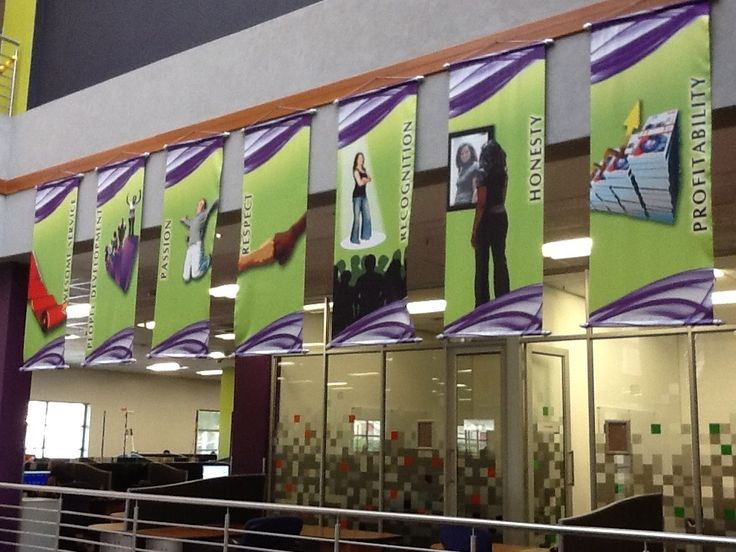 Hanging banners for Outsurance values