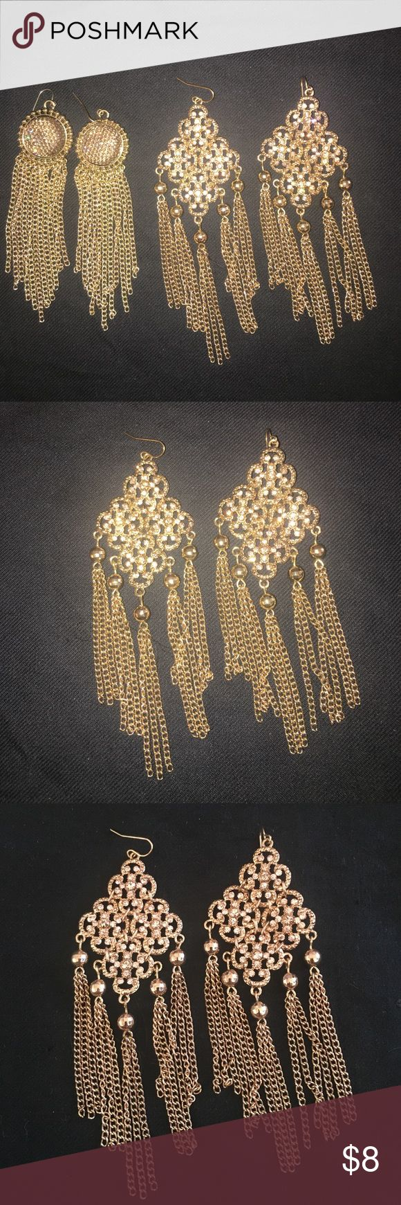 Two New Forever 21 Chandelier Chain Earrings Two pairs of Forever 21 earrings, never been worn.  The crystals in the filigree earrings are rose colored.  Pics were taken with and without flash. Forever 21 Jewelry Earrings