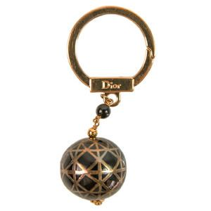 Auth Christian Dior Sphere Ball Brown Bronze Gold Key Ring Porte Cles