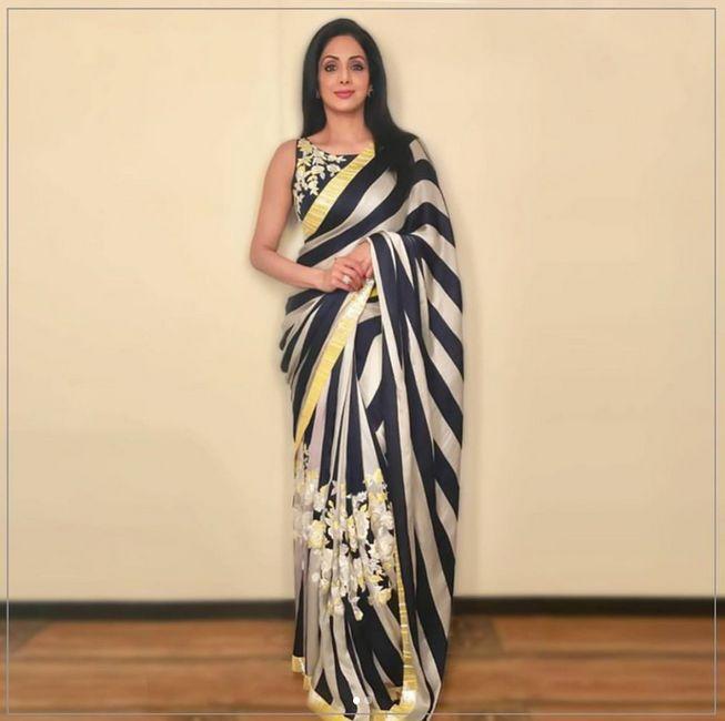 Sri Devi Kapoor In A Beautiful Sari On Mom's Promotion .sari Design By Mainsh Malhotra