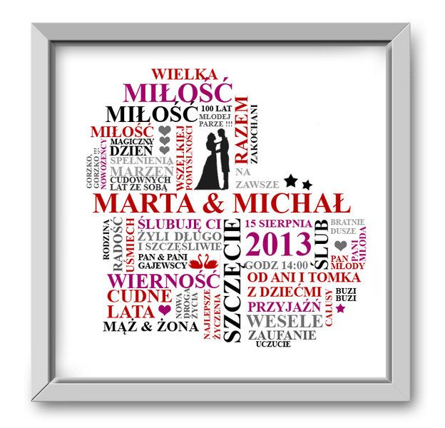 Pamiątkowy obrazek prezent ślubny wesele. w Roanstudio na DaWanda.com