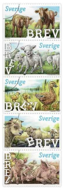 Sverige frimärken 20130822 Busiga djurungar
