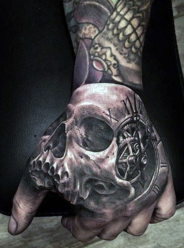 Realistic Time Skull Tattoo On Hand For Men