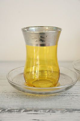 Handmade Yellow & Silver Turkish Tea Gift Set for Two