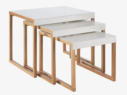 KILO WHITES Metal White metal nest of 3 side tables - Versatile furniture- HabitatUK