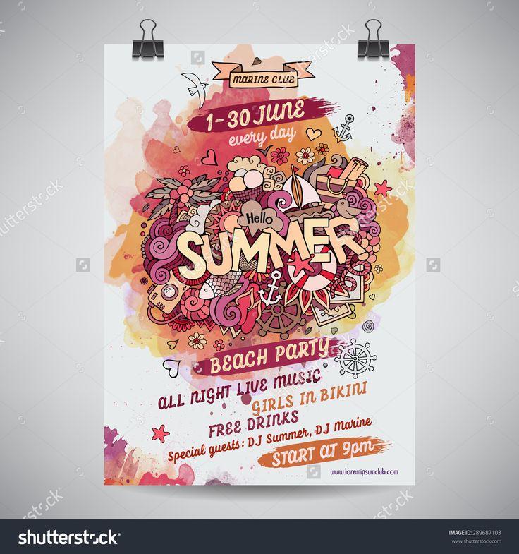 Vector summer doodles watercolor paint party poster design