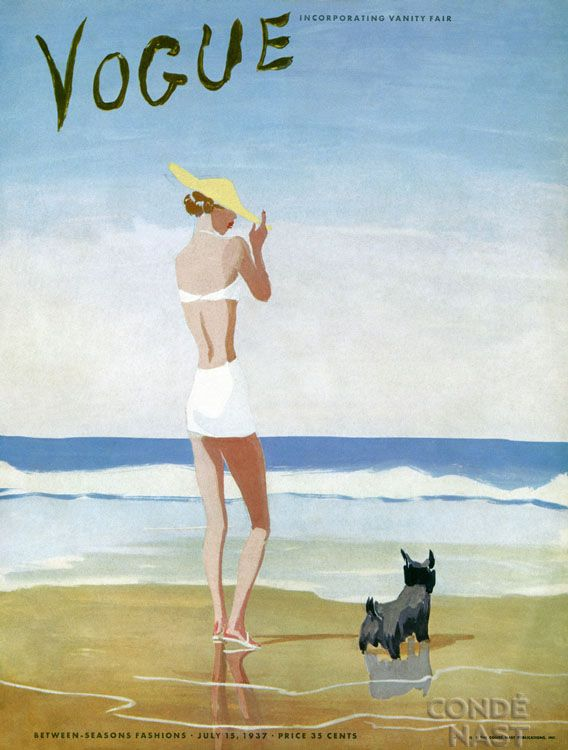 From Vogue, July 1937...reminds me of me and my dog at the beach