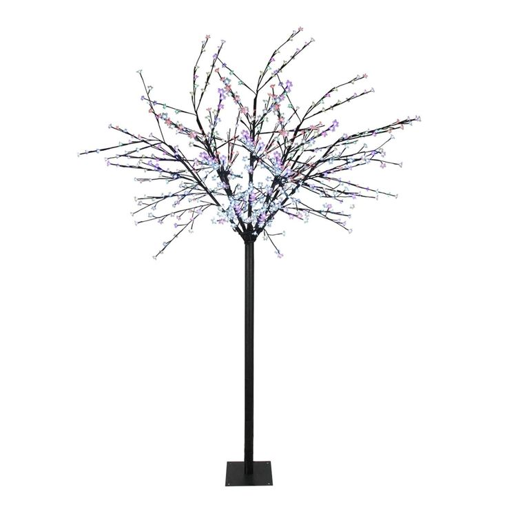 8' LED Lighted Commercial Cherry (Red) Blossom Flower Tree - Multi Color-Changing Lights