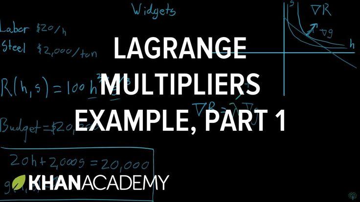 Lagrange multiplier example, part 1