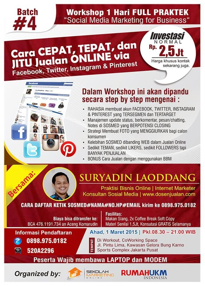 Dosen Jualan, Praktisi Jualan Online, Facebook Marketing, Social Media Marketing, Pelatihan Internet, BBM Marketing, Instagram, SEO, Konsultan SEO, Konsultan Internet Marketing, Workshop Online Marketing, Kelas Magang Dosen Jualan