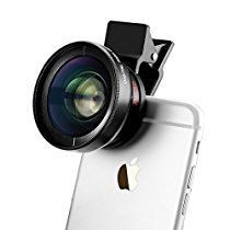 TECHO Universal Professional HD Camera Lens Kit for iPhone 7 / 6s Plus / 6s / 5s, Cellphone (0.45x Super Wide Angle Lens, 12.5x Super Macro Lens)