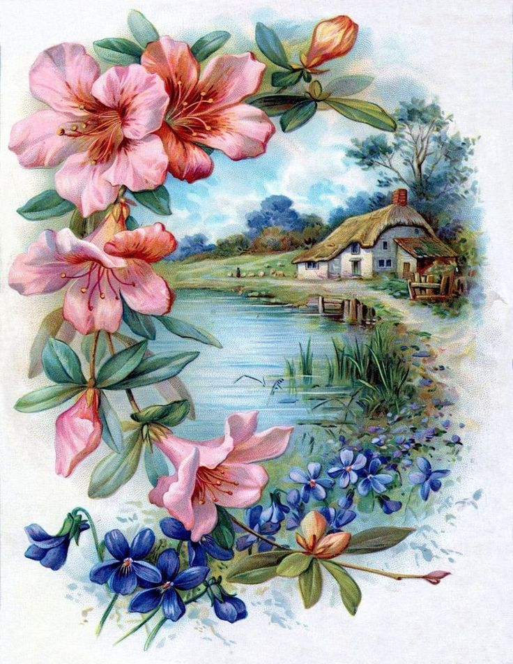 Antique vintage inspired  note card blank inside Flowers farm river  #any