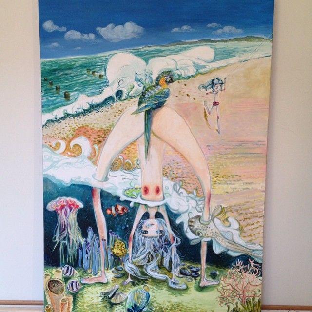"""""""INHALE/EXHALE"""", acrylic on canvas, 100/70"""
