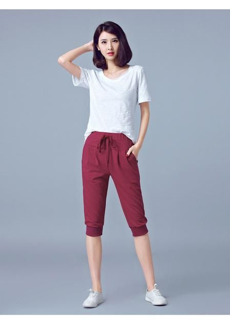 2018 Summer Calf Length Harem Pants Plus Size Black Trousers Sportwear Joggers Sweat Pants Ladies 5Xl 6Xl wine red XL 3