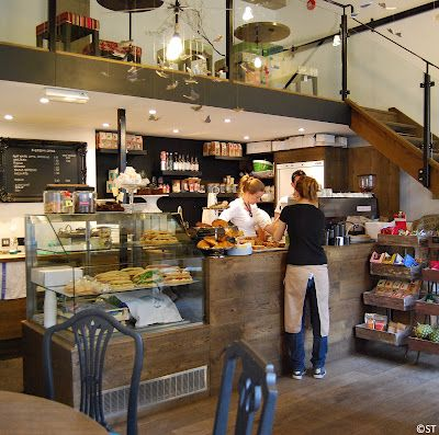 Everbean Coffee Shop | London...love the loft!...add a skylight over the loft and it'd be perfect!