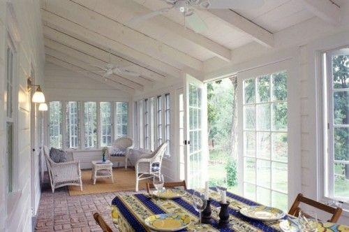 Imagine a kitchen opening off the left wall. Hoping to capture some of this sunroom feeling.
