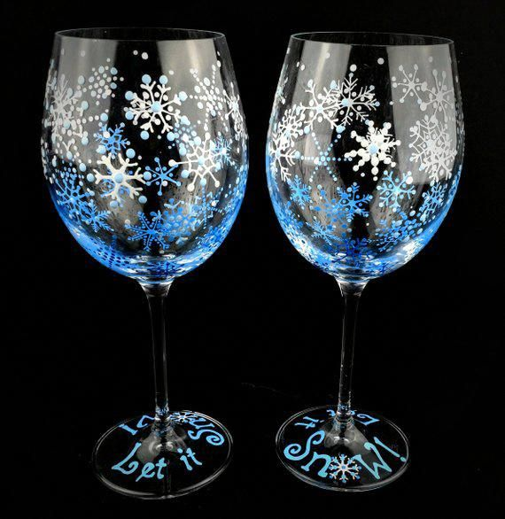 Let It Snow Hand Painted Winter Wine Glasses Snowflake Wine Glass Snow Theme Seasonal 2 Wine Glasses Blue And White Christmas Snow Glassses Winter Wine Glasses Painted Wine Glasses Christmas Christmas
