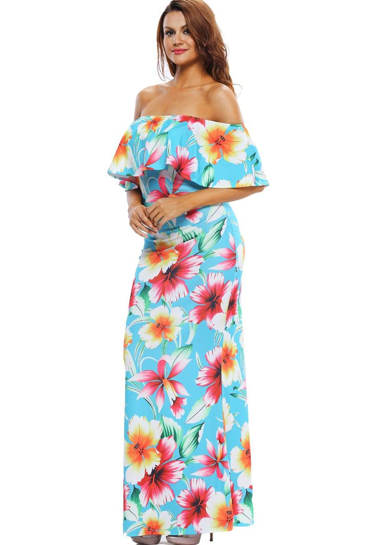 Maxi Robes Turquoise Roses Print Off The Shoulder Robe Pas Cher www.modebuy.com @Modebuy #Modebuy #CommeMontre #dress #Rose #sexy