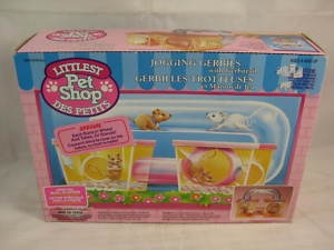 Littlest Pet Shop Jogging Gerbils with Gerbitrail Toy. Made by KENNER in the early 90s.      http://www.ebay.com.au/itm/LITTLEST-PET-SHOP-VINTAGE-1992-JOGGING-GERBILS-TOY-MIB-/110615683580?pt=AU_Toys_Hobbies_Character_Toys&hash=item19c13561fc#ht_3447wt_952