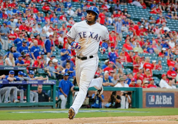 Elvis Andrus scores the Rangers' only run against the Jays at Globe Life Park in Arlington on Thursday, October 6, 2016. (Louis DeLuca/The Dallas Morning News)