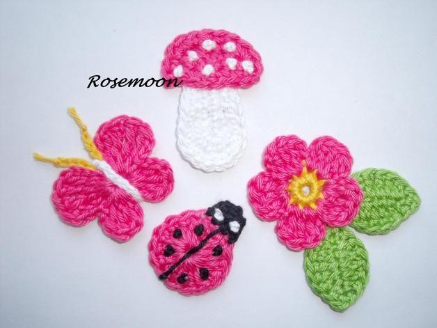 Häkelapplikationen - Häkelblumen - ein Designerstück von rosemoon bei DaWanda