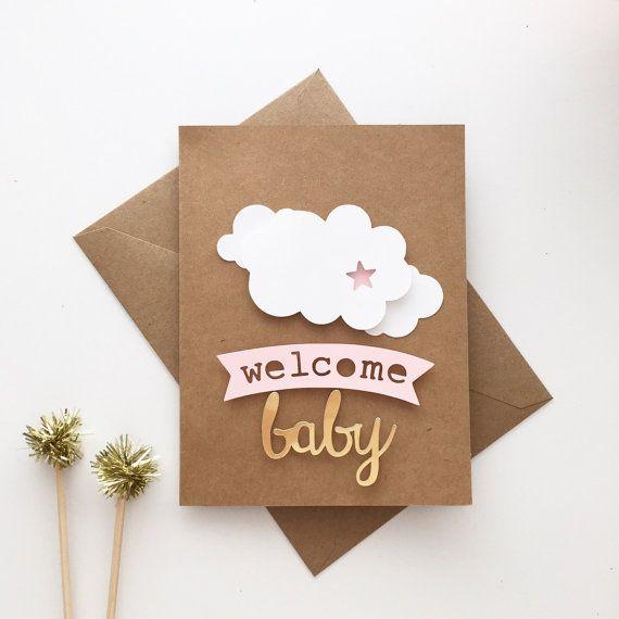 Bienvenue bébé | Carte faite main de bébé douche