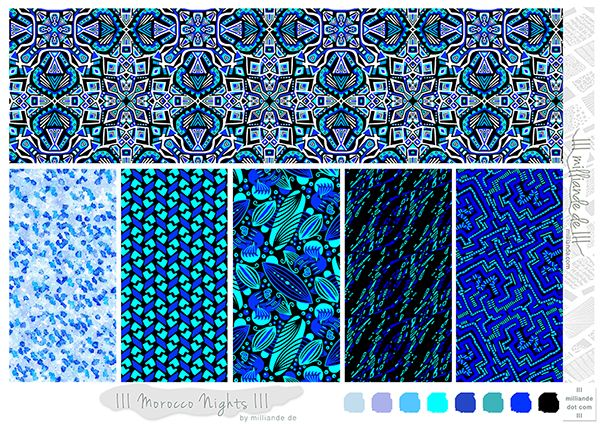 III milliande de III Morocco Nights III Surface Pattern Design Collection 32016 for Textile Design, Fashion, Apparel and Product Packaging Print and Patterns