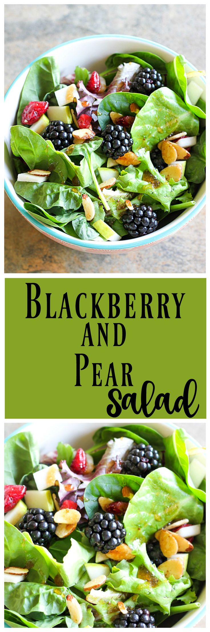 Blackberry and Pear Salad is a delicious salad to ease into Fall. Use up the last of the seasonal blackberries and greens with some pears that are coming on.