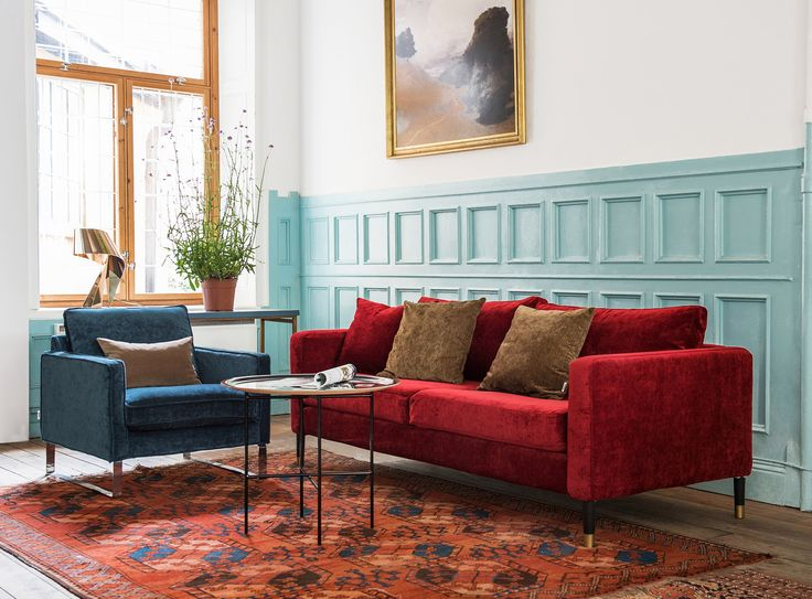 Velvet is our latest fabric obsession | Cranberry and sea blue in a winning combination | IKEA Mellby armchair with a velvet Bemz cover | IKEA Karlstad sofa with a Bemz x Designers Guild cover