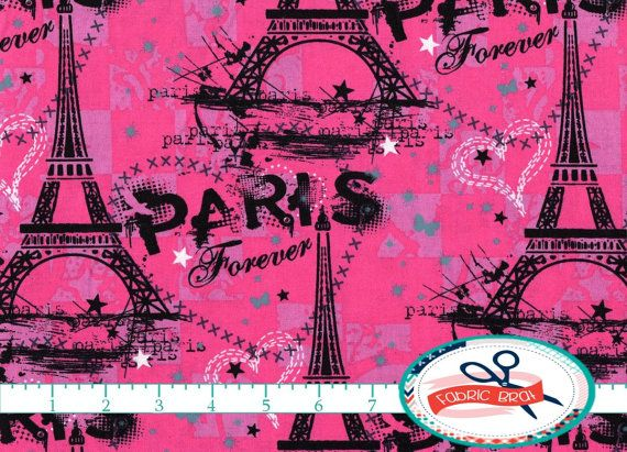 HOT PINK PARIS Fabric by the Yard Fat Quarter Pink & Black Fabric Eiffel Tower Fabric Quilting Fabric Apparel Fabric 100% Cotton Fabric a2-6