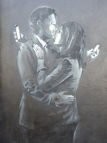 Banksy 'Mobile Phone Lovers' Form: portrait, grey scale Content: two people in a relationship, mobile phones Emotions: interesting, thought provoking, technology, shows how everyone is obssesed with technology these days