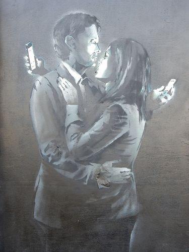 Banksy 'Mobile Phone Lovers' #streetart