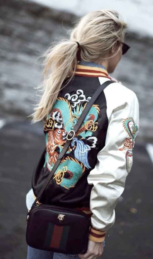 embroidered bomber jacket | gucci bag | happily grey fashion blogger