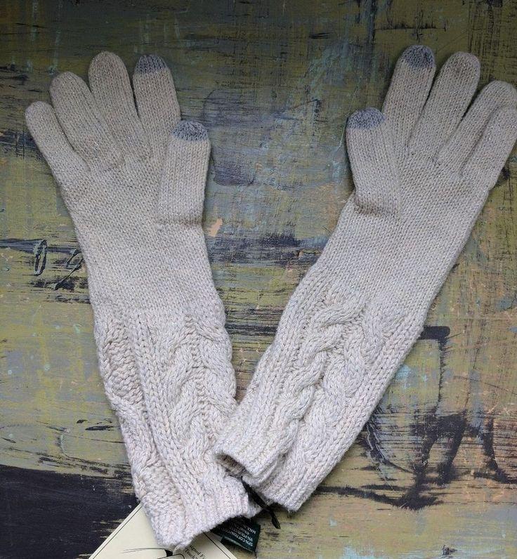 New LRL Ralph Lauren The Touch Cell Phone Gloves Mittens Oatmeal Gray Metallic #LaurenRalphLauren #CellPhoneGloves