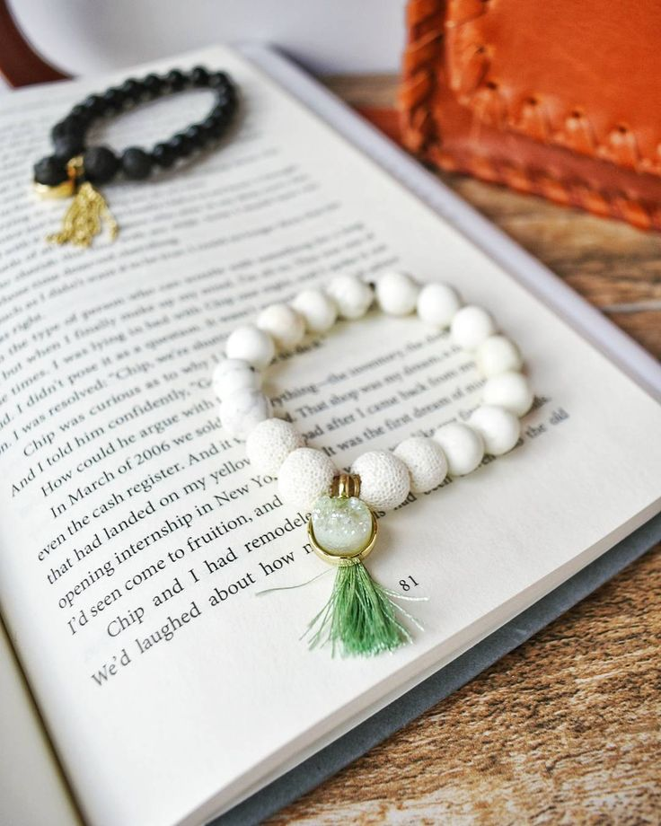 Howlite Diffusing Bracelet with Mint Natural Stone and Tassel | Avelyn Lane