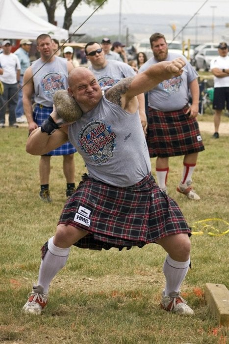 Stone throwing in a kilt. This is what my ancestors did for fun.There are Highland or Celtic or Scottish Festivals in the United States.