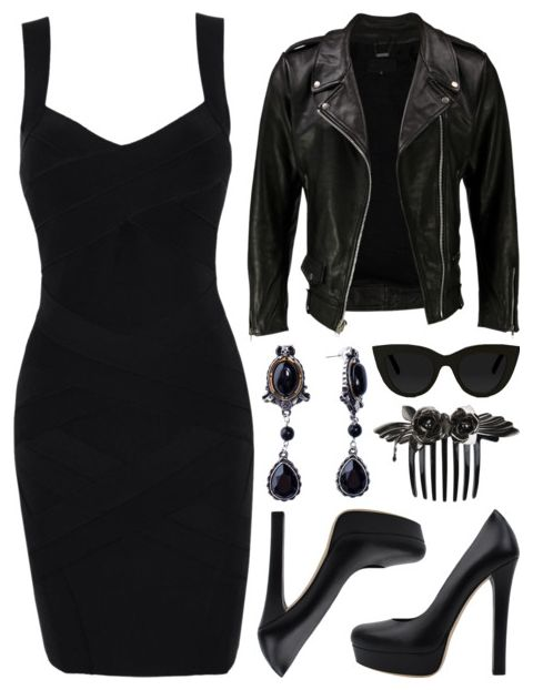 love the black leather jacket with the black dress #attitude