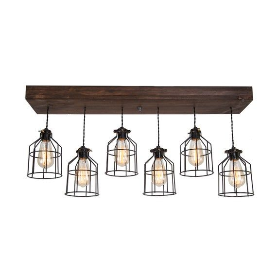 Farmhouse Wood Pendant Light Fixture 6 Pendant Light Rustic Etsy Wood Pendant Light Wood Pendant Light Fixture Rustic Pendant Lighting